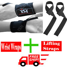 Gym Weight Lifting Wrist Wraps Power Hand Support Lifting Straps Training Pairs