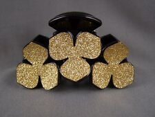 "Gold Black sparkly glittery plastic 3.25"" long barrette hair clip claw clamp"