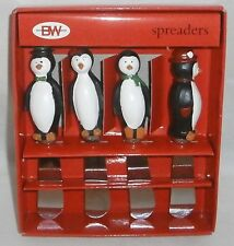 Christmas PENQUIN PARTY Cheese Spreaders by Boston Warehouse  Set of 4