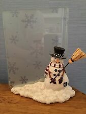 Jolly Snowman in the Snow Frame Holding a Broom of Hay
