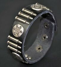 Men's Cool Bullet & Flower Studded Genuine Leather Bracelet Wristband Black