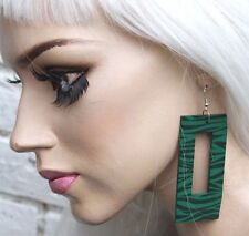 ZEBRA GREEN WOODEN TRASHY PUNK PASTEL GOTH ALT CLUBWEAR HIPSTER PARTY EARRINGS