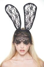 Cute Floral Black Lace Veil Mask with Long Bunny Ears LL010BK