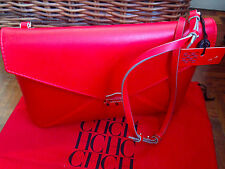 NWT authentic CH Carolina Herrera cross body clutch envelope bag  red leather
