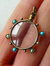 Antique Victorian fob charm locket, wheel set with turquoise & pearl- Attractive