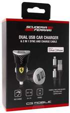 Scuderia Ferrari Dual USB Car Charger + MFI 2 in 1 Cable Bundle Pack – Black