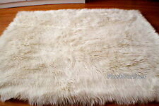 5'x8' warm white rectangle rug faux fur rug flokati sheepskin rug bedroom