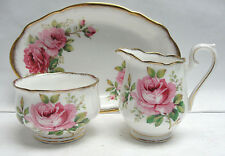 ROYAL ALBERT CHINA - AMERICAN BEAUTY Pattern - SUGAR BOWL, CREAMER, & TRAY SET