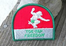 "VINTAGE SKATEBOARD ""TOE-TAP FREEDOM"" SEW ON OR IRON ON FABRIC PATCH 3"" X 2-1/2"""