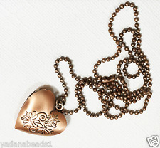 Antique copper heart locket with iron ball chain