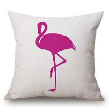 """Flamingo Bird Beige Pink 17"""" Square Cushion Cover Pillow Case Home Decor Gift"""