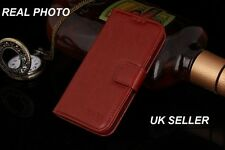 New HTC One M8 Genuine Vintage Real Leather Stand Up Wallet Case Cover Brown