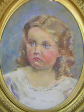 Antique Oil  Painting Portrait Girl Medium Original Realism Unsigned