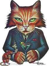 Drinking Cat Sticker Decal Smoking Rat Artist Doug Horne H23