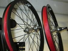 "FIT BMX 20"" WHEEL SET revenge 9t Dwall BLACK Rims Polished Sealed Hubs w/ Guard"