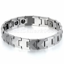 12MM Heavy Biker Tungsten Carbide Men's Link Magnetic Bracelet FREE SHIPPING