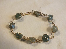 "Beautiful Clasp Bracelet Gold Tone Wire Wrapped Jade Green Beads 7 3/8"" NICE"