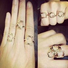 SET Good Luck Crystal Daisy Geometry Gemstone Mid Finger Tip Midi Knuckle Ring