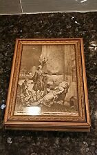Antique Wooden Jewelry Box•Picture Frame Top With Georgian Print Sepia Design