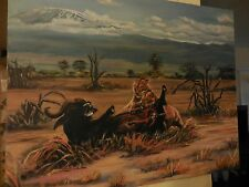 Canvas Painting of Two Lions on Big Game Kill in Safari Scene by De Ana Wendling