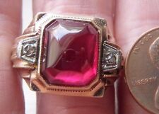 ANTIQUE OSTBY BARTON 10K 2 TONE GOLD RUBY CABOCHON DIAMOND MAN'S RING SZ 11