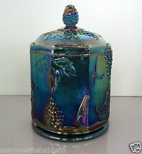 """Indiana Glass Iridescent Blue Carnival Harvest Grape 7"""" Small Canister Candy Jar"""