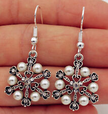 925 Silver Plated Hook -1.6'' Bohemia Flower Hollow Pearls Crystals Earrings#17