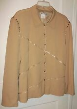 Nancy Bolen Tan Jacket Fully Lined with Faux Leather Trim SZ 18 SW Cowgirl Style