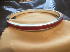 silver round bangle with red band new for 2017 stunning all handmade