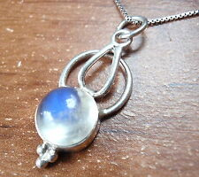 Blue Rainbow Moonstone Necklace 925 Sterling Silver Corona Sun Jewelry
