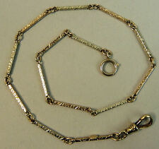 ANTIQUE 14CT TWO COLOUR GOLD FANCY POCKET WATCH ALBERT CHAIN C. 1920 10.6 GRAMS