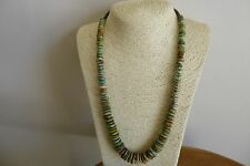 Estate Natural Turquoise Heishi Beads  Navajo Necklace