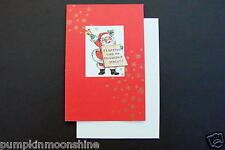 Unused Erica Von Kager Brownie Xmas Greeting Card Santa Holding Holiday Sign