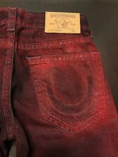 TRUE RELIGION BRAND JEANS MENS RED SKINNY CONTINENT JEANS SZ 27