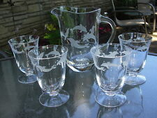 Lenox Crystal Set of 4  Dolphin Glasses and Pitcher