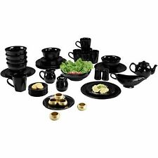 Black Dinnerware Set Beaded Kitchen Banquet 45 Piece Round Plates Cups 6 Person