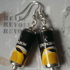 Unique STRONGBOW EARRINGS handcrafted DESIGNER drink CIDER beer PUB bar CANS