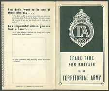 SPARE TIME FOR BRITAIN IN THE TERRITORIAL ARMY FOLD OUT  LEAFLET C1950