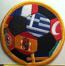 World Soccer Ball Flags Embroidered Iron-On Patch Greece, Spain, & More