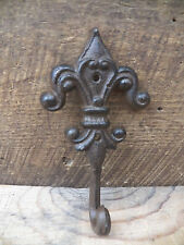 1 Antique-Style Rustic FLEUR DE LIS School COAT HOOK Cast Iron Wall  Hardware