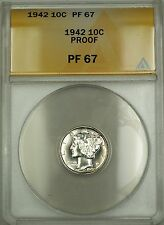 1942 Proof Mercury Silver Dime 10c Anacs Pf-67 Gem Coin (A)