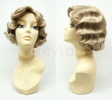 Dirty Blonde Finger Waves Wig Short 1920s Gatsby Retro Costume Vintage Flapper