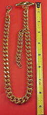 Vintage 17 inch Gold Plated Watch Chain Large 7/16 inch Links T Bar Retro 1960s