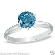 1.50 Ct Round Blue Real 14K White Gold Solitaire Engagement Wedding Promise Ring