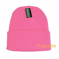 Pink Beanie Plain Knit Ski Hat Skull Cap Cuff Warm Winter Blank Unisex New