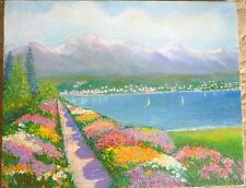 OIL PAINTING LOVELY FLOWERS LAKE SCENE MOUNTAINS COULD BE EUROPE ITALY FRANCE