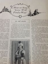 68-9 1930s Article Jose Collins How To Sing Love Will Find A Way Ephemera 1 Page