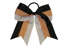 "NEW ""CHEVRON ORANGE STRIPE"" Cheer Hair Bow Pony Tail 3"" Ribbon Girl Cheerleading"