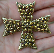GORGEOUS HIGH END VINTAGE SIGNED WEISS RHINESTONE MALTESE CROSS BROOCH
