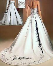 Zweifarbig Brautkleid Hochzeitskleid Schwarz Stickerei Weiß Satin A-Linie XXL